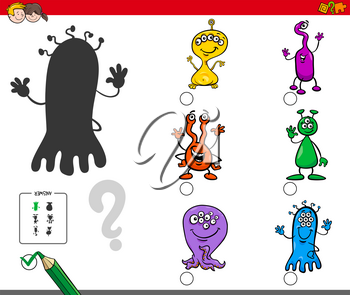 Cartoon Illustration of Finding the Shadow without Differences Educational Activity for Children with Alien Characters