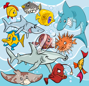 Cartoon Illustrations of Fish Sea Life Animal Characters Group