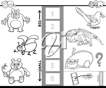 Black and White Cartoon Illustration of Educational Game of Finding the Biggest and the Smallest Animal Species Characters for Children Coloring Book