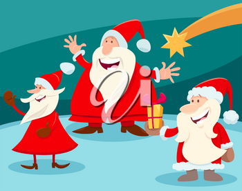Cartoon Illustration of Christmas Design or Greeting Card with Santa Claus Characters and Star