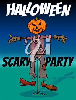 Cartoon Illustration of Halloween Holiday Party Poster or Banner Design with Comic Scarecrow Characters