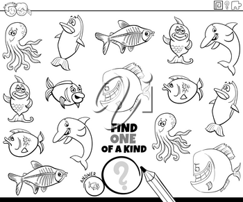 Black and White Cartoon Illustration of Find One of a Kind Picture Educational Game with Funny Sea Life Animal Characters Coloring Book Page