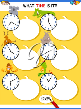 Cartoon Illustrations of Telling Time Educational Task with Clock Face and Animals for Kids