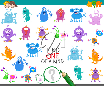 Cartoon Illustration of Find One of a Kind Educational Game for Kids with Monster Characters