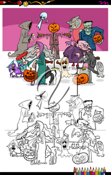 Cartoon Illustration of Halloween Characters Group Coloring Book Workbook