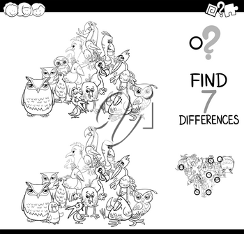 Black and White Cartoon Illustration of Finding Seven Differences Between Pictures Educational Activity Game for Kids with Birds Animal Characters Group Coloring Book