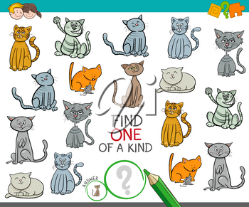 Cartoon Illustration of Find One of a Kind Picture Educational Activity Game for Children with Cats Animal Characters