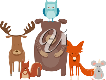 Cartoon Illustration of Cute Animal Characters Group in the Scandinavian Style
