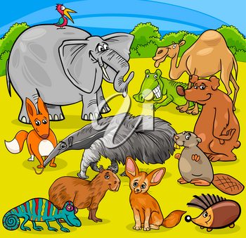 Cartoon Illustration of Funny Animal Characters Group