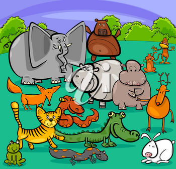 Cartoon Illustration of Cute Animal Characters Group