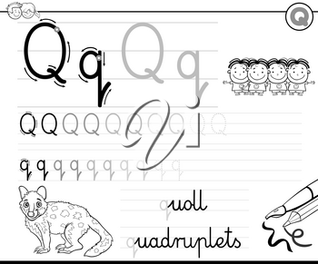 Black and White Cartoon Illustration of Writing Skills Practice with Letter Q Worksheet for Preschool and Elementary Age Children Coloring Book
