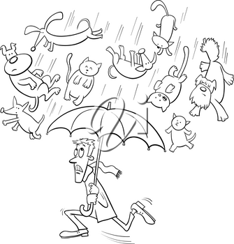 Black and White Cartoon Humorous Concept Illustration of Raining Cats and Dogs Saying or Proverb