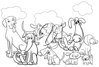 Black and White Cartoon Illustration of Funny Dogs Pet Animal Characters Group Coloring Book