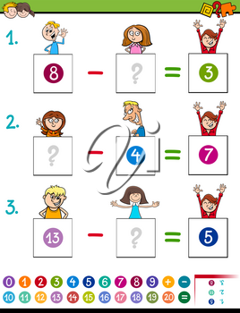 Cartoon Illustration of Educational Mathematical Subtraction Puzzle Game for Preschool and Elementary Age Children with Boys and Girls Funny Characters