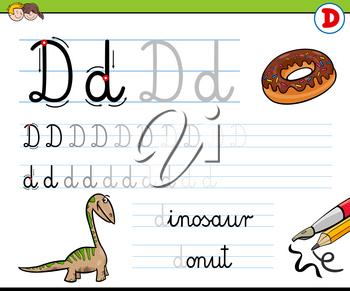 Cartoon Illustration of Writing Skills Practice with Letter D Worksheet for Preschool and Elementary Age Children