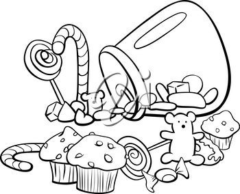 Black and White Cartoon Illustration of Sweet Food like Candy or Cakes Coloring Book