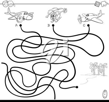 Black and White Cartoon Illustration of Paths or Maze Puzzle Activity Game with Aircraft Characters and Tropical Island Coloring Book