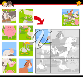 Cartoon Illustration of Educational Jigsaw Puzzle Activity Game for Children with Farm Animal Characters Group