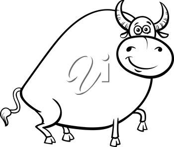 Black and White Cartoon Illustration of Funny Farm Bull Animal Character Coloring Book