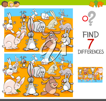 Cartoon Illustration of Finding Seven Differences Between Pictures Educational Activity Game for Kids with Rabbits Animal Characters Group