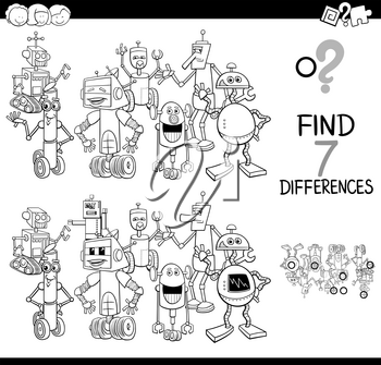 Black and White Cartoon Illustration of Finding Seven Differences Between Pictures Educational Activity Game for Children with Funny Robots Fantasy Characters Group Coloring Book