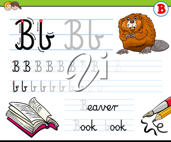 Cartoon Illustration of Writing Skills Practice with Letter B for Preschool and Elementary Age Children