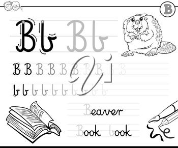 Black and White Cartoon Illustration of Writing Skills Practice with Letter B for Preschool and Elementary Age Children Color Book