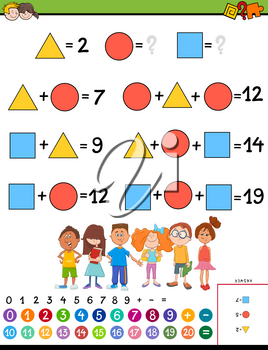 Cartoon Illustration of Educational Mathematical Calculation with Unknown Puzzle Game for Children