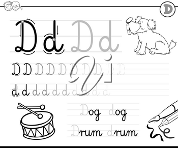 Black and White Cartoon Illustration of Writing Skills Practice with Letter D for Preschool and Elementary Age Children Color Book