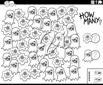 Black and White Illustration of Educational Counting Task for Children with Funny Monsters Characters Coloring Book Page
