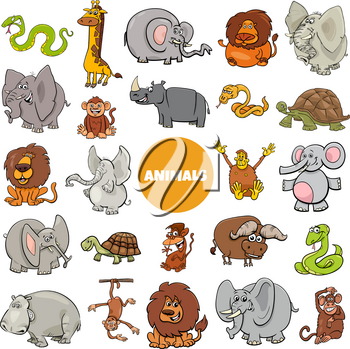 Cartoon Illustration of Wild African Animal Characters Large Set