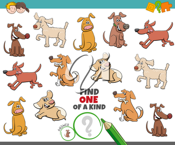 Cartoon Illustration of Find One of a Kind Picture Educational Game with Playful Dogs and Puppies Characters