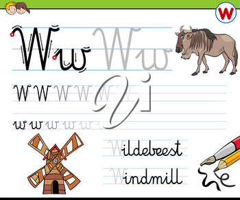 Cartoon Illustration of Writing Skills Practice Worksheet with Letter W for Preschool and Elementary Age Children