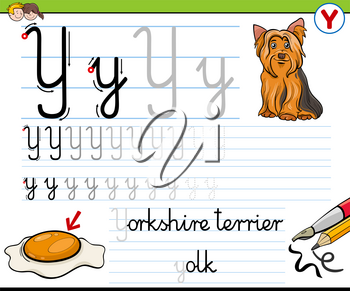 Cartoon illustration of writing skills practice worksheet with letter Y for preschool and elementary age children