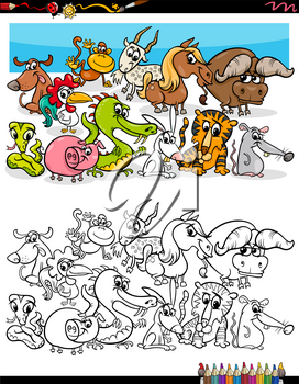 Cartoon Illustration of Funny Animal Characters Group Coloring Book Page