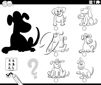 Black and White Cartoon Illustration of Finding the Right Picture to the Shadow Educational Game for Children with Cute Dogs Animal Characters Coloring Book Page