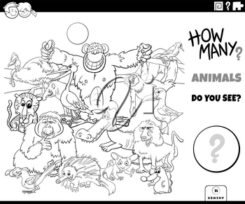 Black and White Illustration of Educational Counting Game for Children with Cartoon Wild Animal Characters Group Coloring Book Page