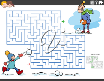 Cartoon illustration of educational maze puzzle game for children with boy and his dad on winter time
