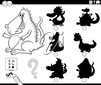 Black and white cartoon illustration of finding the right shadow to the picture educational game for children with dragon fantasy character coloring book page