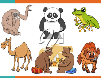 Cartoon illustration of funny different animals comic characters set