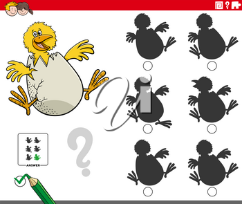 Cartoon Illustration of finding the shadow without differences educational game for kids with little chick hatching from egg