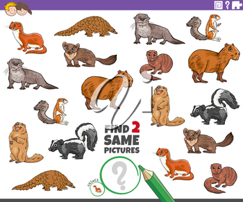 Cartoon Illustration of Finding Two Same Pictures Educational Game for Children with Funny Animal Characters