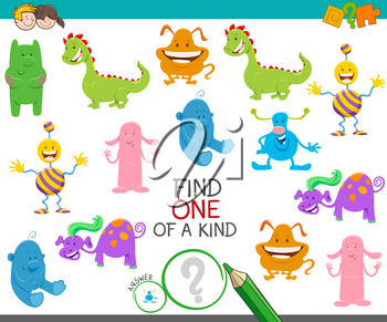 Cartoon Illustration of Find One of a Kind Picture Educational Activity Game with Cute Monsters or Aliens Fantasy Characters