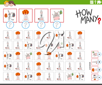 Illustration of Educational Counting Game for Children with Cartoon Easter Bunnies Holiday Animal Characters