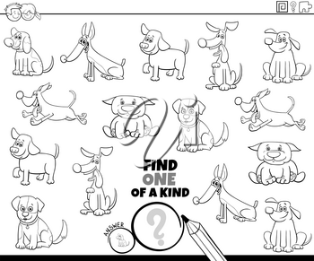 Black and White Cartoon Illustration of Find One of a Kind Picture Educational Game with Comic Dogs and Puppies Characters Coloring Book Page