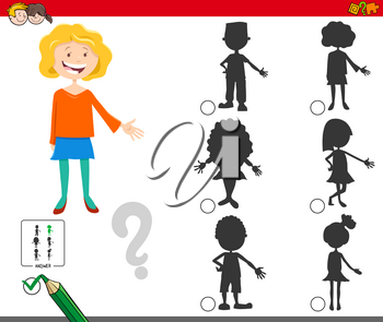 Cartoon Illustration of Finding the Right Shadow Educational Game for Children with Girl Characters