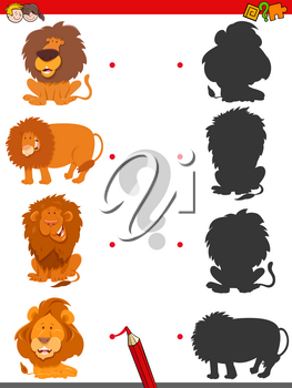Cartoon Illustration of Matching Shadows Educational Game for Children with Lions Animal Characters