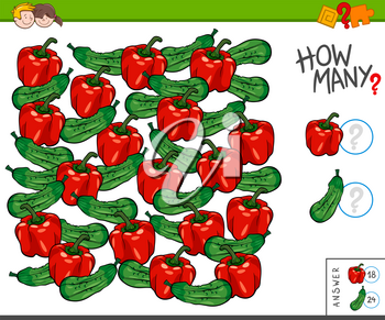 Illustration of Educational Counting Task for Children with Cucumbers and Peppers