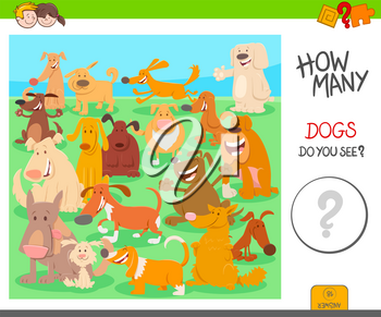 Cartoon Illustration of Educational Counting Activity Game for Children with Dogs Animal Characters