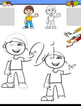 Cartoon Illustration of Drawing and Coloring Educational Activity for Children with Happy Little Boy Character